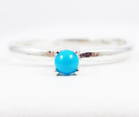 Sleeping Beauty Turquoise Solitaire Ring Sterling Silver, December Birthstone Ring, Sleeping Beauty Turquoise Ring, Solitaire Ring