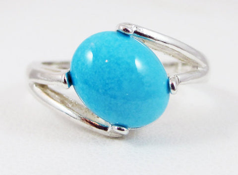 Natural Turquoise Oval Cabochon Ring Sterling Silver, December Birthstone Ring, Sleeping Beauty Turquoise Ring, Turquoise Cabochon Ring