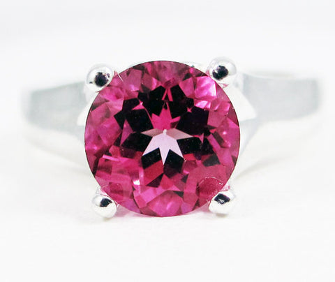 Sterling Silver Large Pink Topaz Solitaire Ring, Topaz Engagement Ring, Pink Topaz Solitaire Ring, Large Solitaire Ring