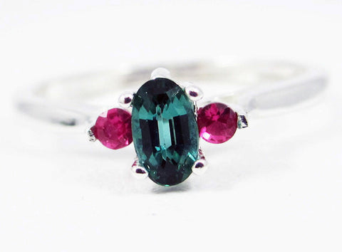 Small Tourmaline Oval and Ruby Accent Ring Sterling Silver, Natural Green Tourmaline Ring, October Birthstone Ring, Green Tourmaline Ring