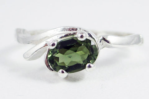 Oval Green Tourmaline Ring Sterling Silver, October Birthstone Ring, Natural Green Tourmaline Ring, 925 Sterling Silver Green Tourmaline