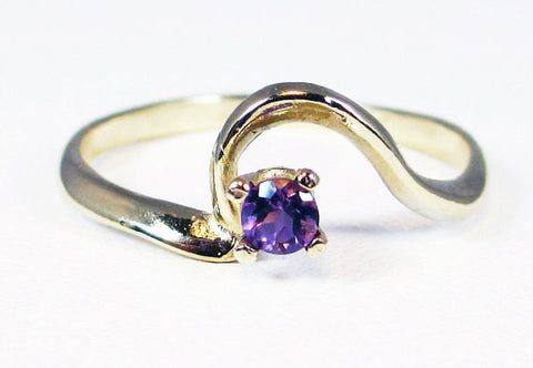 14k Yellow Gold Amethyst Ring, Solid 14 Karat Gold Ring, February Birthstone Ring, 14k Gold Amethyst Ring, Small Amethyst Gold Ring