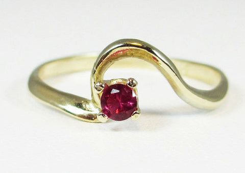 14k Yellow Gold Ruby Swirl Ring, Solid 14 Karat Gold Ring, 14k Gold Ruby Ring, July Birthstone Ring, Small Ruby Ring