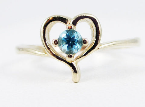 Swiss Blue Topaz Petite Heart Ring 14k Yellow Gold, Solid 14 Karat Gold Ring, December Birthstone Ring, Swiss Blue Topaz Ring 14k Heart Ring