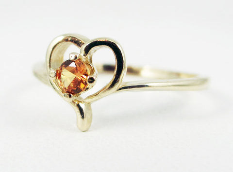 Orange Sapphire Petite Heart Ring 14k Yellow Gold, September Birthstone Ring, Orange Sapphire Ring, Yellow Gold Heart Ring, Sapphire Ring