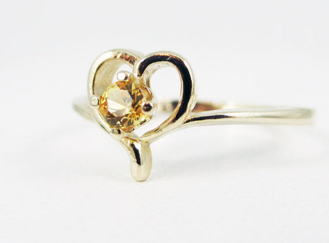 Yellow Sapphire Petite Heart Ring 14k Yellow Gold, September Birthstone Ring, 14k Yellow Sapphire Heart Ring, Solid 14 Karat Gold Ring