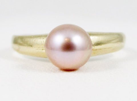 Pink Pearl 14k Yellow Gold Solitaire Ring, Solid 14 Karat Gold Ring, June Birthstone Ring, Pink Pearl Ring, 14k Gold Pink Pearl Ring