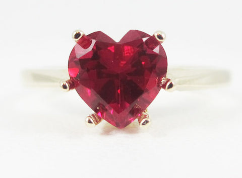 Ruby Heart Ring 14k Yellow Gold July Birthstone Ring Solid 14