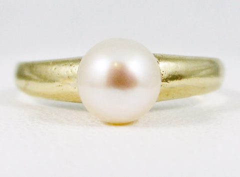 White Pearl 14k Yellow Gold Solitaire Ring, Solid 14 Karat Gold Ring, June Birthstone Ring, Natural White Pearl Ring, Freshwater Pearl Ring