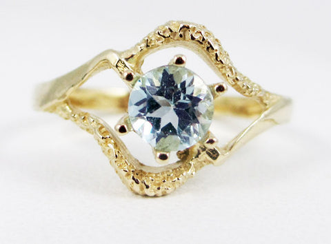 Sky Blue Topaz 14k Yellow Gold Textured Ring, Solid 14 Karat Gold Ring, December Birthstone Ring, Yellow Gold Blue Topaz Ring, 14k Gold Ring