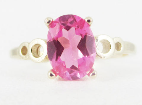 Pink Sapphire Oval 14k Yellow Gold Bubble Ring, September Birthstone Ring, 14k Pink Sapphire Ring, Oval Pink Sapphire Ring, Solid 14k Gold