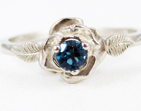 14k White Gold London Blue Topaz Rose Ring, Solid 14 Karat Gold Ring, December Birthstone Ring, White Gold Ring, 14k White Gold Blue Topaz