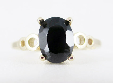 Black CZ Oval 14k Yellow Gold Bubble Ring, Solid 14 Karat Gold Ring, 14k Gold Black CZ Ring, Gold Bubble Ring, 14k Gold Ring