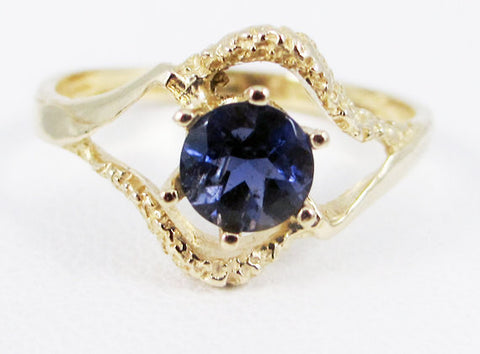 Iolite 14k Yellow Gold Textured Ring, Water Sapphire Ring, 14k Iolite Gold Ring, Solid 14 Karat Gold Ring, 14k Gold Ring