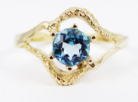 Swiss Blue Topaz 14k Yellow Gold Texture Ring, Solid 14 Karat Gold Ring, December Birthstone Ring, 14k Gold Swiss Blue Topaz Ring