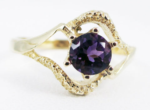 Amethyst 14k Yellow Gold Textured Ring, Solid 14 Karat Gold Ring, February Birthstone Ring, Yellow Gold Amethyst Ring, Purple Amethyst Ring