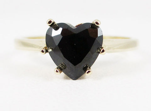 Black CZ Heart Ring 14k Yellow Gold, Solid 14 Karat Gold Ring, 14k Gold Black Heart Ring, Black Cz Ring, Yellow Gold Heart Ring
