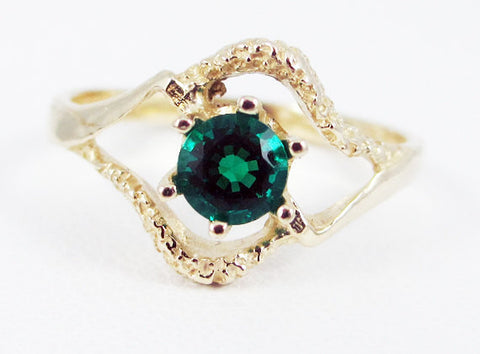 Emerald 14k Yellow Gold Textured Ring, May Birthstone Ring, Yellow Gold Emerald Ring, 14k Yellow Gold Solitaire Ring, Emerald Ring