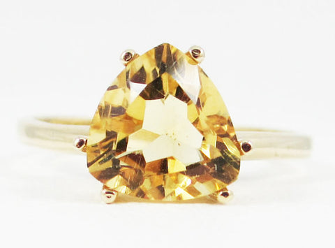 Yellow Citrine Trillion Ring 14k Yellow Gold, Solid 14 Karat Gold Ring, November Birthstone Ring, Citrine Trillion Ring, 14k Yellow Citrine