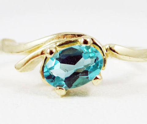 Apatite Oval Ring 14k Yellow Gold, Natural Apatite Ring, Solid 14 Karat Gold Ring, Yellow Gold Oval Ring, Blue-Green Apatite Ring