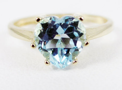 Sky Blue Topaz 14k Yellow Gold Heart Ring, Solid 14 Karat Gold Ring, 14k Gold Blue Heart Ring, Yellow Gold Heart Ring, Sky Blue Topaz Ring