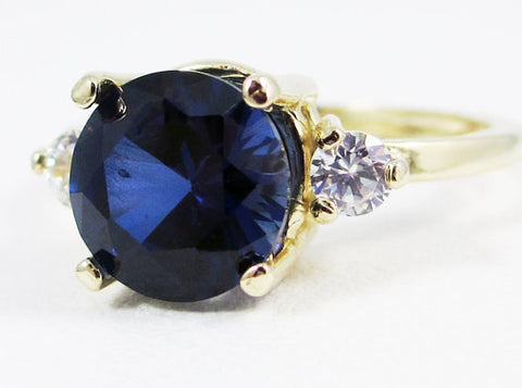 14k Yellow Gold Blue Sapphire and CZ Ring, Solid 14 Karat Gold Ring, September Birthstone Ring, Blue Sapphire Engagement Ring, 14k Gold Ring
