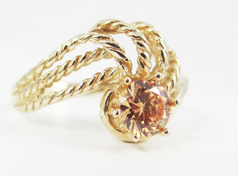 Champagne CZ 14k Yellow Gold Twisted Swirls Ring, Solid 14 Karat Gold Ring, Colored CZ Ring, Twisted Gold Rope Ring