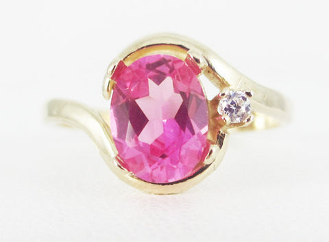 Pink Sapphire 14k Yellow Gold CZ Accent Oval Ring, Solid 14 Karat Gold Ring, September Birthstone Ring, Pink Sapphire Oval Ring