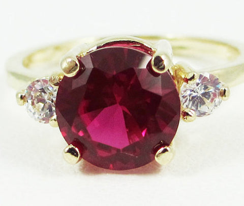 Ruby and CZ Ring 14k Yellow Gold, Solid 14 Karat Gold Ring, 14k Gold Ruby Engagement Ring, July Birthstone Ring, 14k Gold Ring, Three Stone