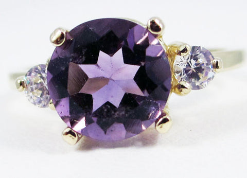 Amethyst and CZ Ring 14k Yellow Gold