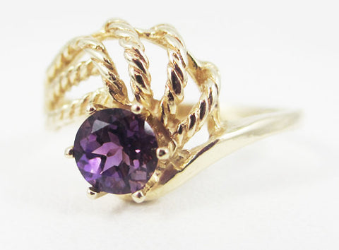 Amethyst 14k Yellow Gold Twisted Swirls Ring