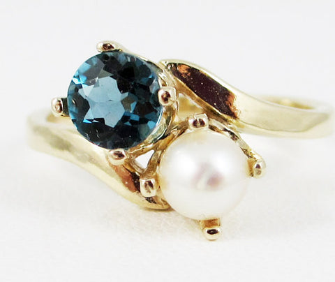 14k Yellow Gold London Blue Topaz and White Pearl Two Stone Ring, Solid 14 Karat Gold Ring, June Birthstone Ring, December Birthstone Ring