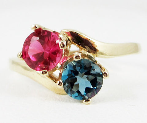 14k Yellow Gold London Blue Topaz and Ruby Two Stone Ring, Solid 14 Karat Gold Ring, July Birthstone Ring, December Birthstone Ring