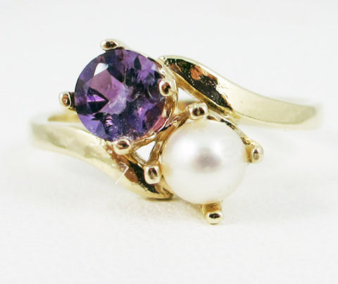 14k Gold Amethyst and White Pearl Two Stone Ring Yellow Gold, Solid 14 Karat Gold Ring, February Birthstone Ring, June Birthstone Ring