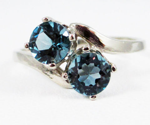 14k White Gold London Blue Topaz Two Stone Ring, Solid 14 Karat Gold Ring, December Birthstone Ring, White Gold Ring, 14k White Gold Ring
