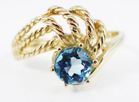 Swiss blue topaz 14k Yellow Gold Twisted Swirls Ring, Solid 14 Karat Gold Ring, December Birthstone Ring, Swiss Blue Topaz Ring, 14k Gold
