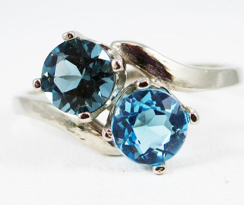 London Topaz and Swiss Blue Two Stone Ring 14k White Gold, December Birthstone Ring, White Gold Ring, 14k White Gold Blue Topaz Ring