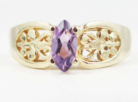 Amethyst 14k Yellow Gold Marquis Filigree Ring, February Birthstone Ring, Amethyst Marquis Ring, 14k Yellow Gold Filigree Ring