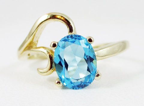 Swiss Blue Topaz 14k Yellow Gold Oval Ring, Solid 14 Karat Gold Ring, December Birthstone Ring, 14k Gold Swiss Blue Topaz Oval Ring