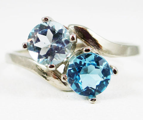 14k White Gold Sky Blue Topaz and Swiss Blue Topaz Ring, White Gold Ring, December Birthstone Ring, 14k White Gold Blue Topaz Ring