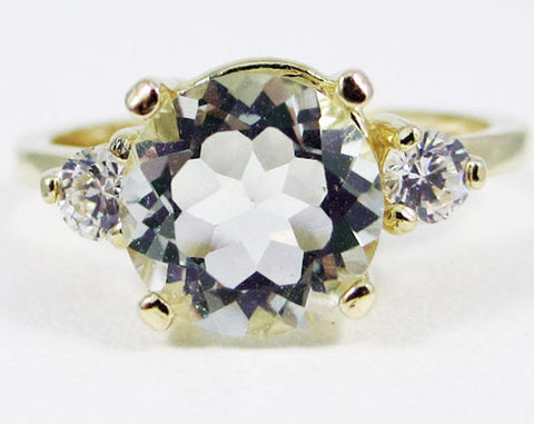 14k Yellow Gold Green Amethyst and CZ Ring, Prasiolite Amethyst Ring, Large Amethyst Engagement Ring, 14k Yellow Gold Ring, Three Stone Ring