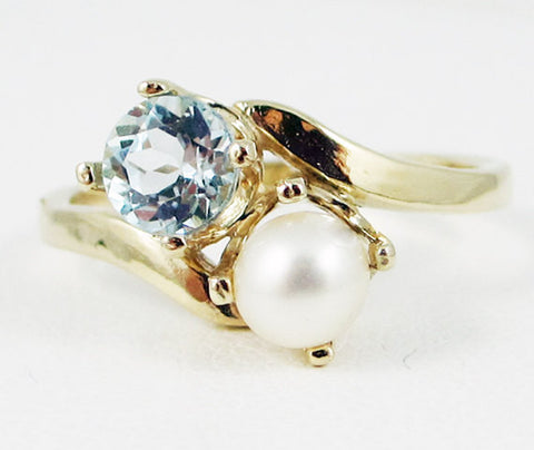 14k Yellow Gold Sky Blue Topaz and White Pearl Two Stone Ring, Solid 14 Karat Gold Ring, June Birthstone Ring, December Birthstone Ring