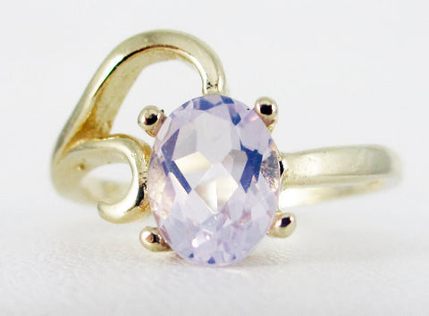 Lavender Moon Quartz 14k Yellow Gold Oval Ring, Solid 14 Karat Gold Ring, Lavender Moon Quartz Ring, 14k Gold Ring