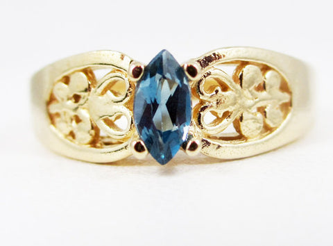 London Blue Topaz 14k Yellow Gold Marquis Filigree Ring, Solid 14 Karat Gold Ring, December Birthstone Ring, London Blue Topaz Marquis Ring