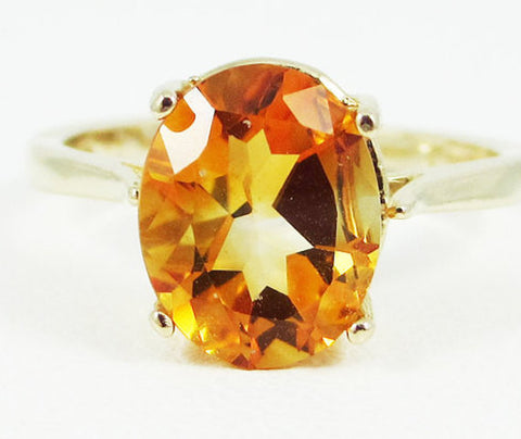 Yellow Citrine Oval Solitaire Ring 14k Yellow Gold, November Birthstone Ring, Oval Citrine Ring, Solid 14 Karat Gold Ring, Golden Citrine