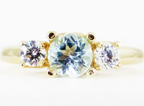 Sky Blue Topaz and CZ 14k Yellow Gold Three Stone Ring, Solid 14 Karat Gold Ring, December Birthstone Ring, Three Stone Ring, 14k Gold Ring