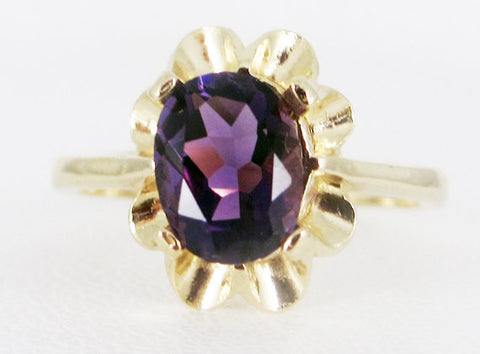 Amethyst 14k Yellow Gold Oval Crown Ring