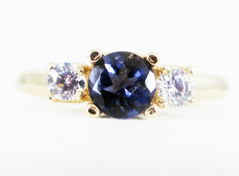 Iolite and CZ 14k Yellow Gold Three Stone Ring, Water Sapphire Ring, Solid 14 Karat Gold Ring, Natural Iolite Ring, 14k Yellow Gold Ring