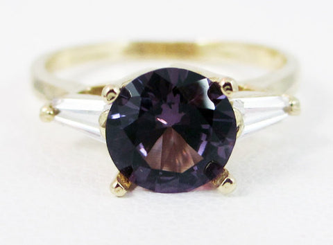 Alexandrite Baguette Accented 14k Yellow Gold Ring
