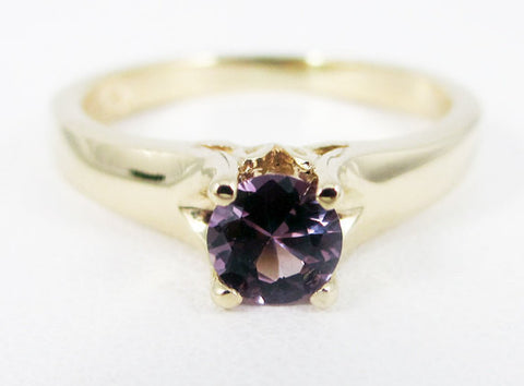 Alexandrite 14k Yellow Gold Tulilp Solitaire Ring